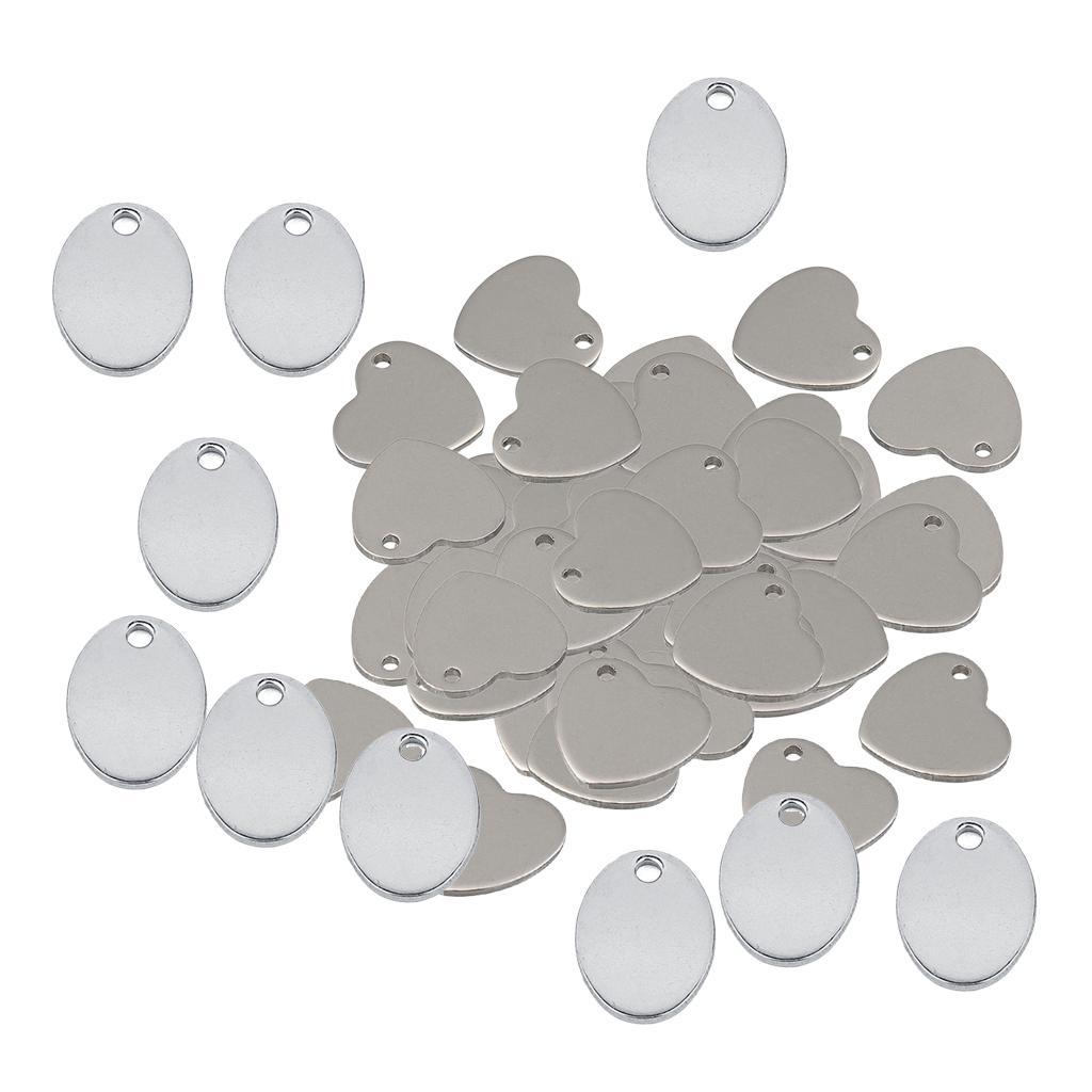 60pcs Paslanmaz Çelik Yassı Boşluklar Kalp Aşk Oval Metal Damgalama Blank ve hazırlama Etiketler Damgalama Blank kolye