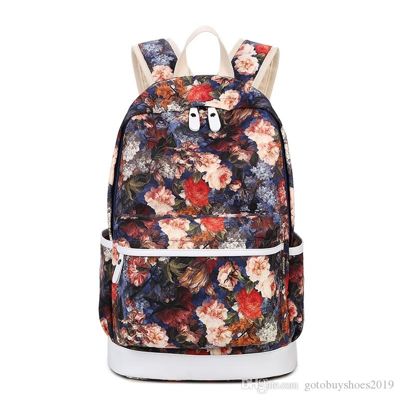 Brand Unique Printing Backpack Women Floral Bookbags Waterproof Canvas Backpack Schoolbag for Girls Rucksack Casual #322779