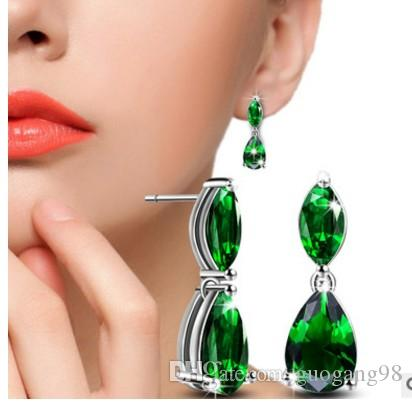 2pairs/lots crystal jewelry stone 925 silver diamond pearl lady's drops earings up-market 7.5v