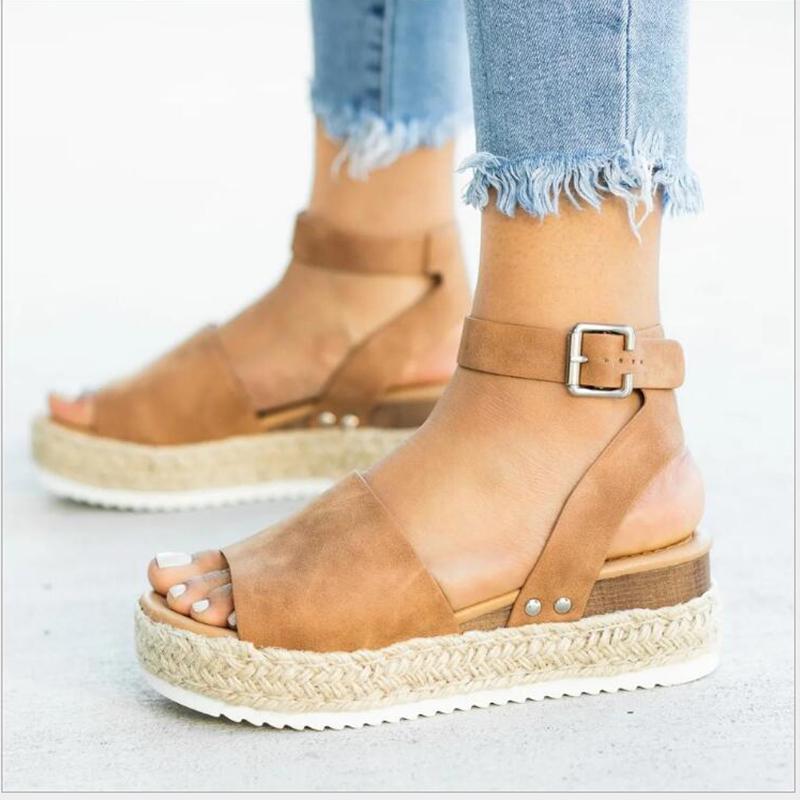 Zapatos de vestir Mujeres Sandalias Tallas grandes Cuñas para tacones altos Verano 2021 Flip Flaops Chaussures Femme Plataforma