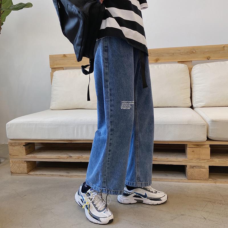 옴므 남성 스트리트 스타일 와이드 다리 느슨한 스트레이트 캐주얼 나인 찢어진 청바지 바지 빔 얇은 데님 바지 포인트