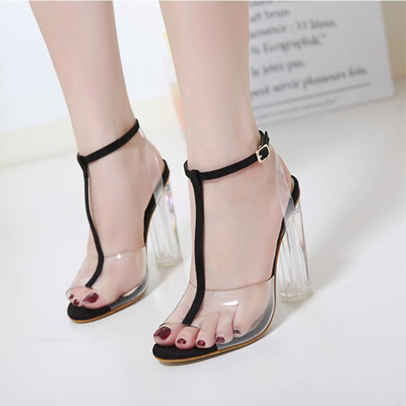 2020 PVC gelatina sandali di cristallo aperto Toed Tacchi alti Donne tacco trasparente pantofole dei sandali pompe Big Size 41 42
