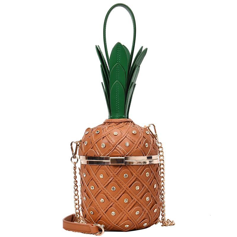 Diamond Pineapple Fashion Women Handbag Pu Shoulder Bag Chain Purse Bucket Bag Crossbody Female Bolsa