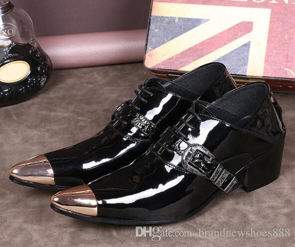Nouvelle Boucle Formelle Noir Chaussures Oxford Pour Hommes Italienne Chaussures En Cuir Hommes Mocassins De Mariage En Cuir Verni Bureau Chaussures