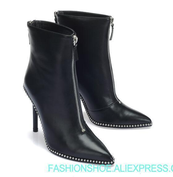 Woman Pointed Rivet Short Boots Black Leather Stiletto High Heel Boots Metal Balls Beading Double Zipper High Heel Ankle Boots Office Shoes From