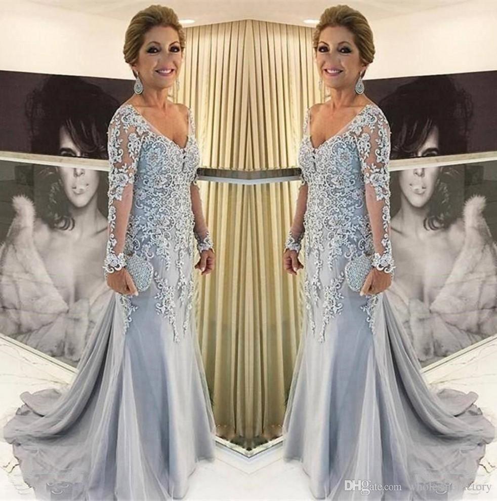 Elegante Spitze Mutter der Braut-Kleid mit V-Ausschnitt mit langen Ärmeln Tulle Appliques plus Größe Fußboden-Längen-formale Abend-Mutter Abendkleider