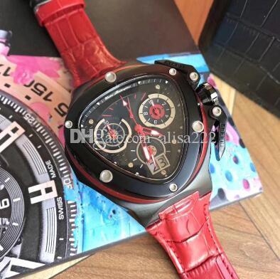 Triángulo de lujo para hombres 46 mm de calidad superior de cuero relojes de pulsera de cuarzo Boarse Sport Mens Racing Driver Relojes