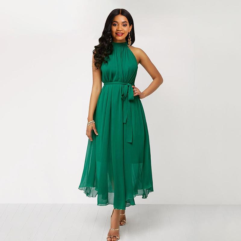 Green Dress Women Chiffon Summer Dress Halter Lace Up Sleeveless Sexy Off Shoulder Elegant Plus Size Ladies Long Maxi Dresses MX200319