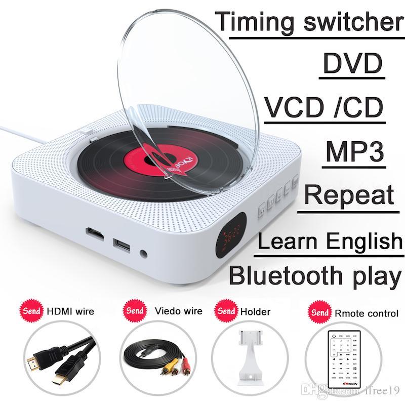 Lettore DVD montabile a parete con uscita HDMI Full-HD per TV AV bianco audio Hi-Fi integrato con telecomando Bluetooth