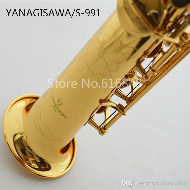 Yanagisawa S-991 Yeni Varış B Düz Düz Tüp Pirinç Soprano Saksafon Altın Lake Enstrüman Sax Ağızlık Ücretsiz Kargo Ile