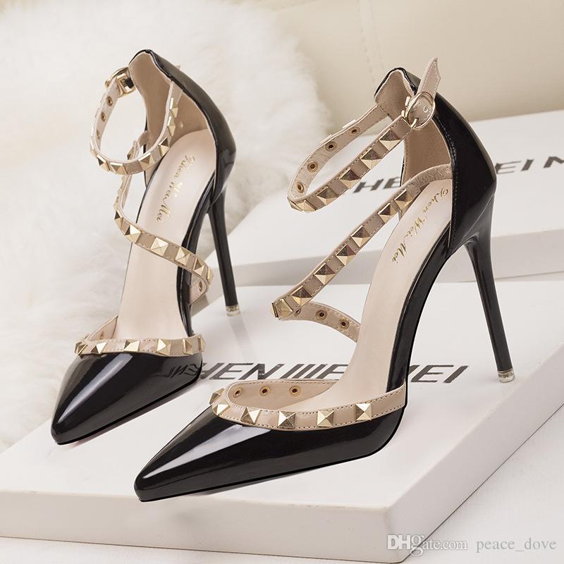 zapatos de boda novia fetiche tacones altos sandalias de las mujeres de charol negro zapatos mary Jane zapatos sexy tacones vestido zapatos moda mujer tacones