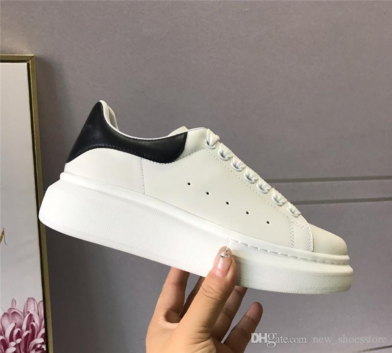 Designer de Luxo Homens Mulheres Sapatos casuais de alta qualidade dos homens da forma das mulheres Sneakers plataforma do partido Sapatos de couro preto Chaussures Sneakers