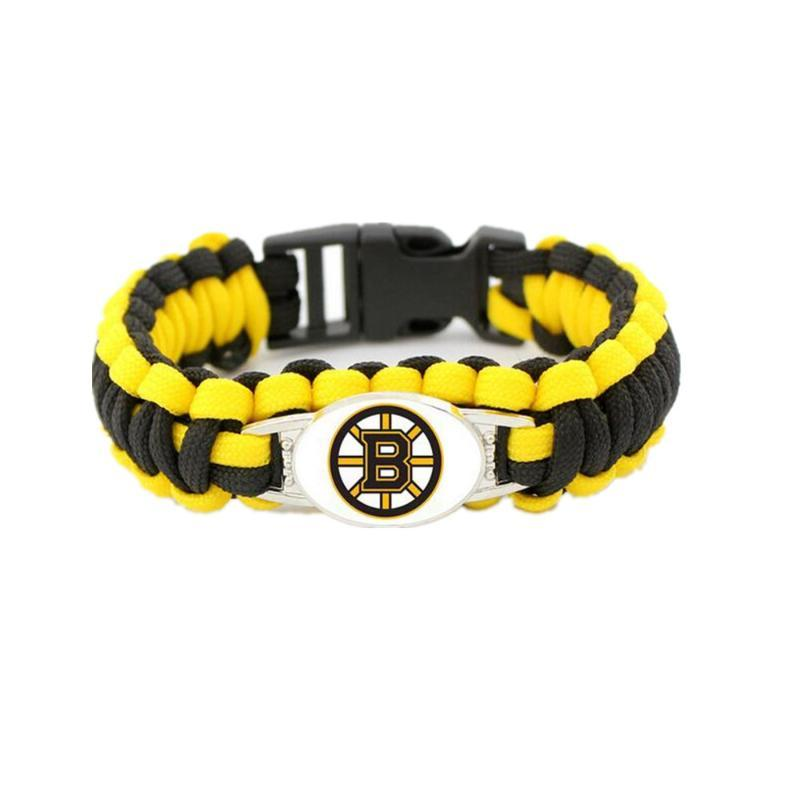 Hand Made Custom Hockey Boston Team Logo Charm Bracelet Rope Survival Braided Rope Escape Bracelet
