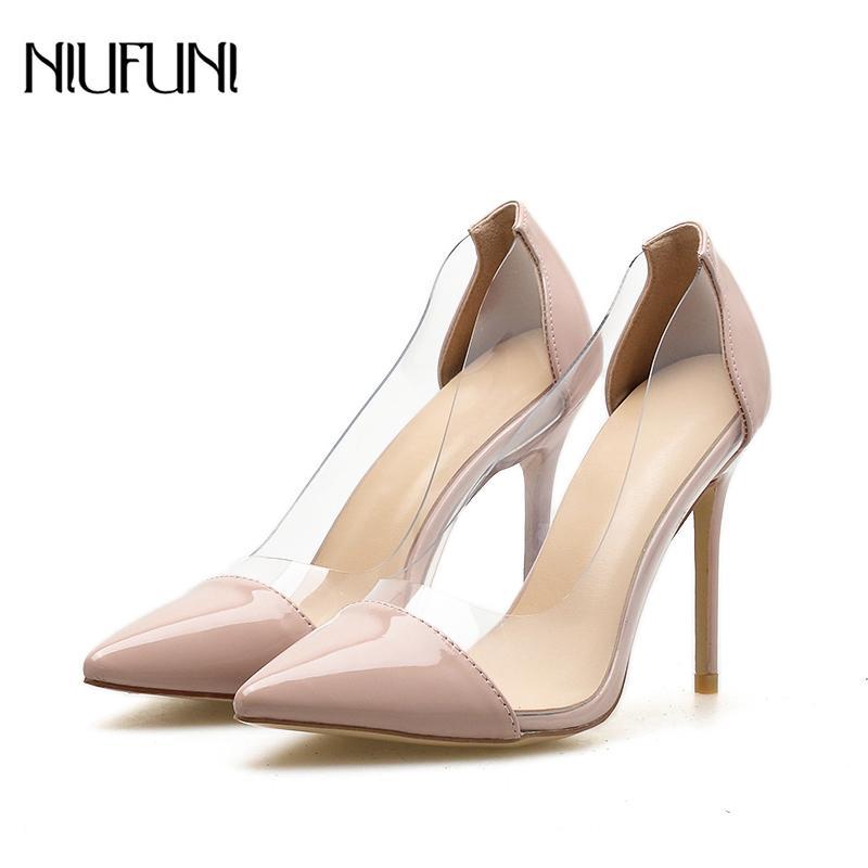 Artı Kadınlar Stiletto Sivri Toe için Boyut 35-42 Temizle Yüksek Topuklar Şeffaf Seksi Parti Balo Gelinlik Ayakkabı On The Slip pompaları