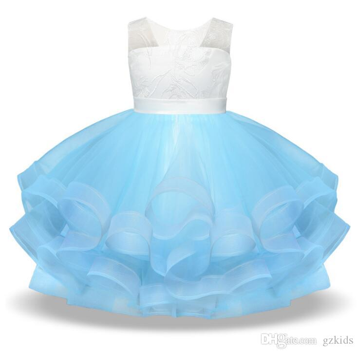 Flower Girl Party Dress Girls Elegant Tulle Backless Wedding Princess Gown Pageant Dresses Blue Pink 2 Colors