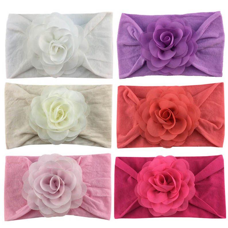 venda de la flor de gasa de nylon accesorios bebé vendas principales de diseño bebé de la venda de las vendas de diseñador diseñador de niñas pelo ins 3D B650