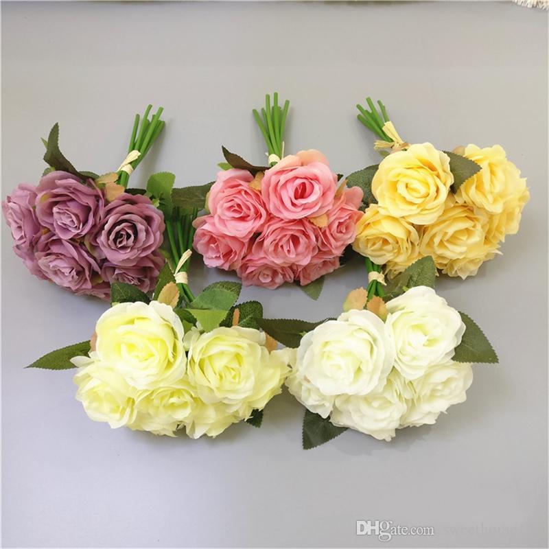 Nuevo 6 Colores Artificiales Flores de Rosa Ramo para Boda Flores de Mano 7 Cabezas Rosa Flores Falsas Decoración para el Hogar Flor de Seda Barato