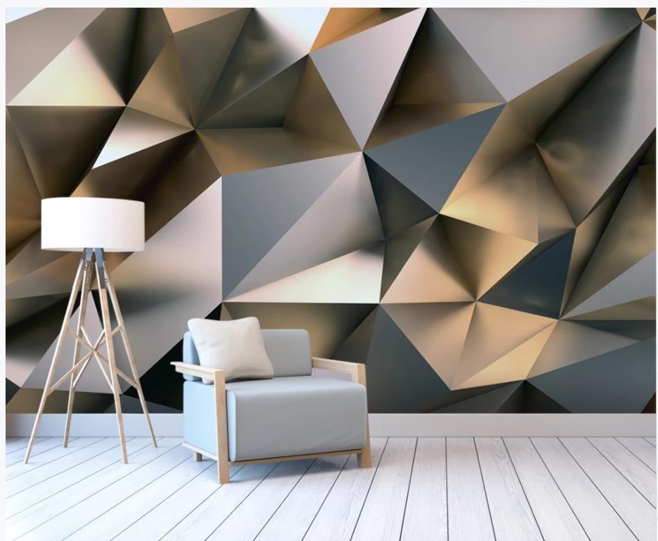 Papel de parede para paredes 3 d para sala de estar abstrato metal ouro estéreo fundo 3d fundo parede