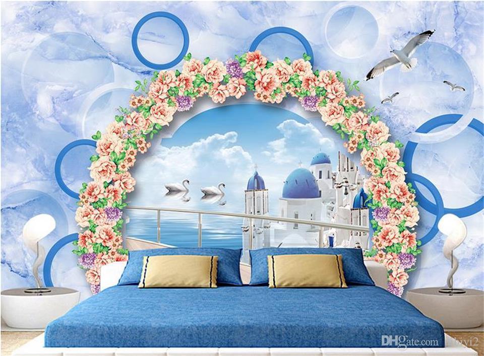 Carta da parati personalizzata con foto 3D Murale Soggiorno Divano TV Sfondo Murale Vista sul mare Barca arco fiore uccello Immagine Carta da parati Adesivo murale Decorazioni per la casa