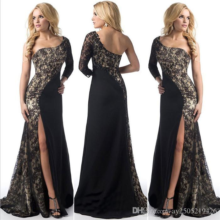 Les femmes de la Nouvelle Europe et en Amérique dentelle sexy robe de soirée robe de soirée Fashion Lady luxe une épaule mariée robe de soirée
