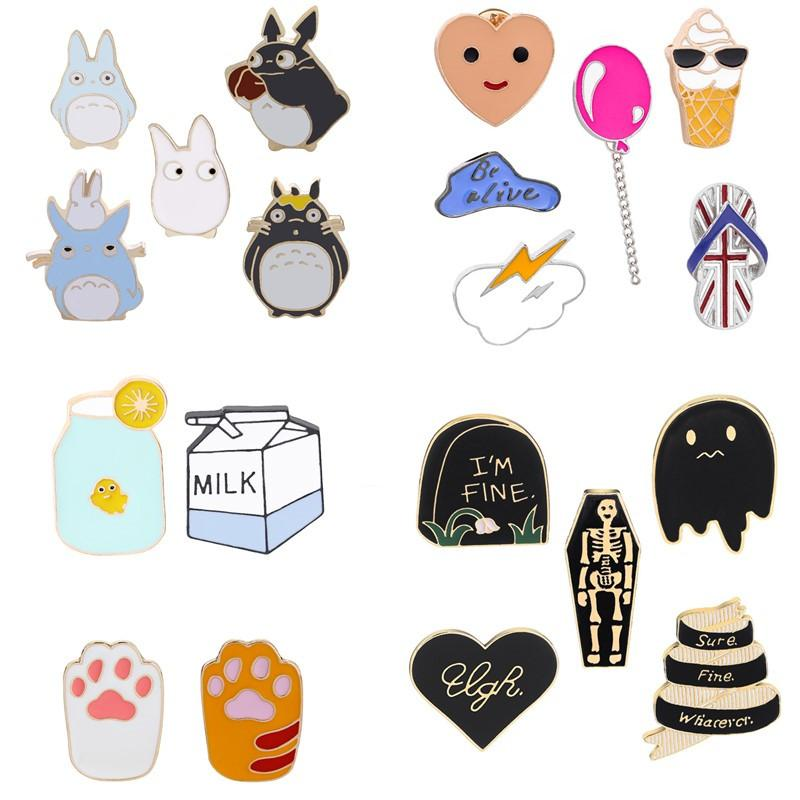 2020 Newly 477pcs Mix Design Cartoon Brooch Pin Badge Enamel Fruit Animals Skull Brooch Alloy Backpack Badge Pins Jewelry For Women Men Gift