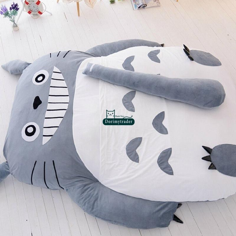 Dorimytrader 210cm x 170cm Pop Japanese Anime Gray Totoro Plush Bed Beanbag Big Stuffed Cartoon Totoro Sleeping Bag Tatami Sofa