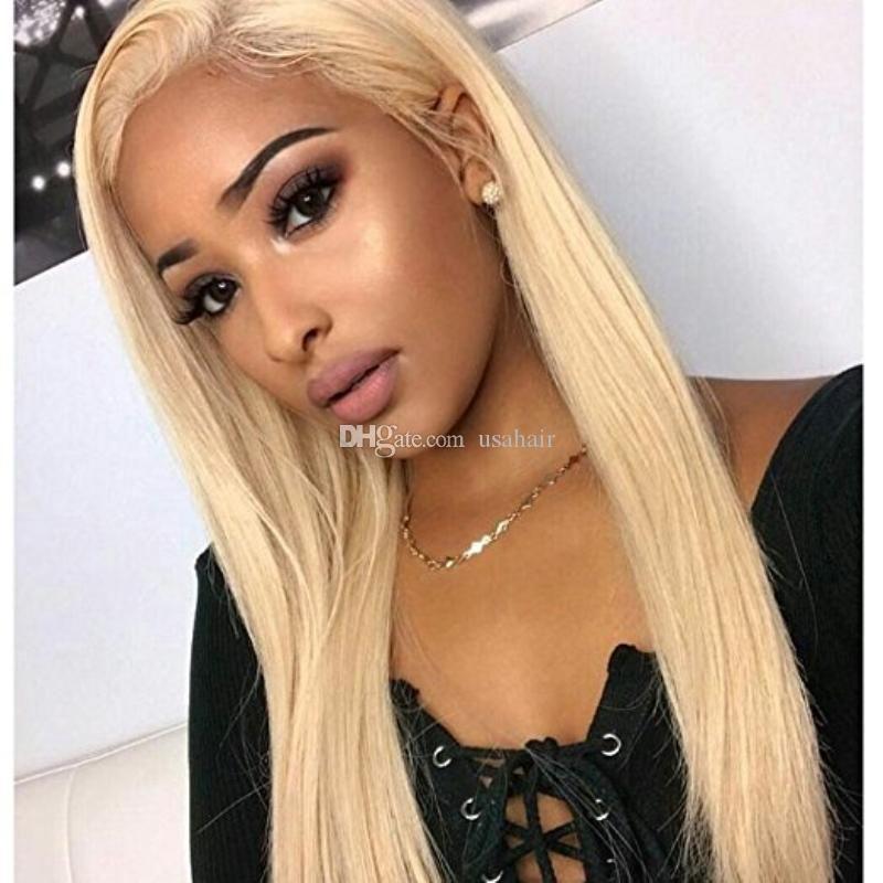 Brasilianische Ombre Glueless volle Spitze Menschenhaar-Perücken für schwarze Frauen brasilianisches gerade 613 # Blonde volles Spitze-Perücken mit Babyhaar um