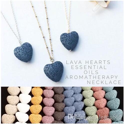 Corazón de la roca de lava colgante de collar de 9 colores aromaterapia Aceite esencial difusor en forma de corazón de piedra collares para las mujeres GB1188 joyería de moda