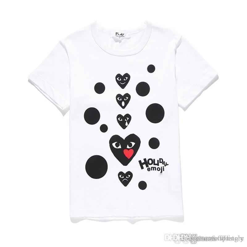 제한된 COM 제일 질 백색 CDG 새로운 망 여자 놀이 GARCONS CDG 놀이 GARCONS CDG 심혼 짧은 소매 T 셔츠