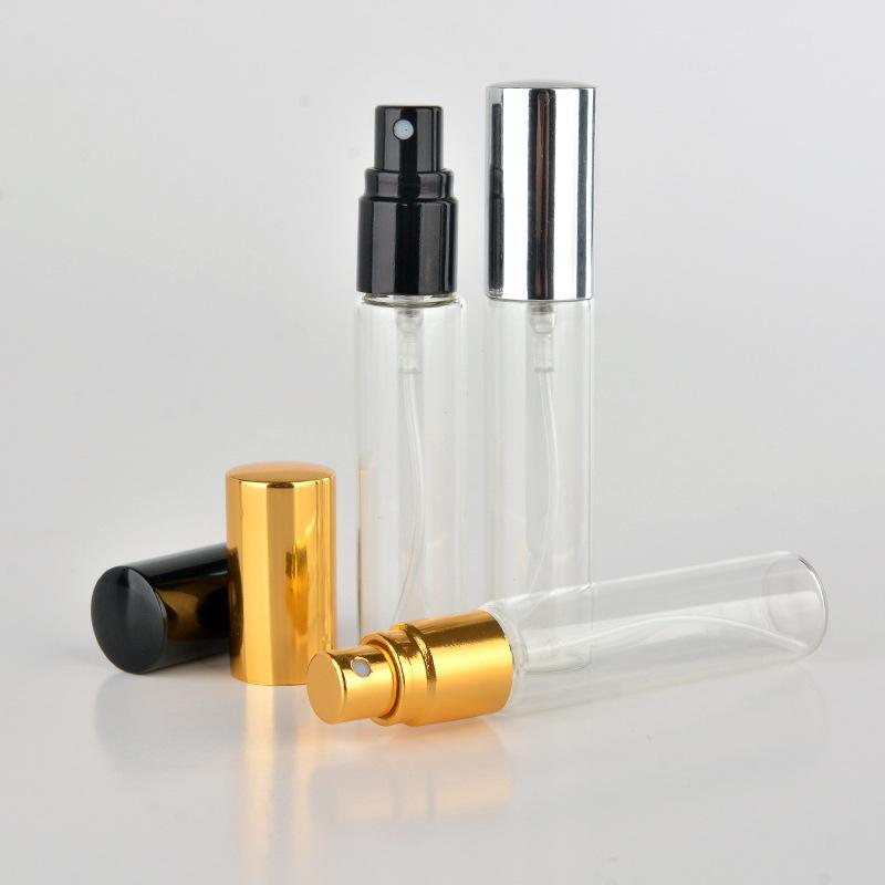 Yüksek Qaulity 1000 adet / grup Mini Parfüm Şişeleri 10 ml Alüminyum Atomizer Parfüm Cam Sprey Şişeleri Boş Seyahat Konteynerleri