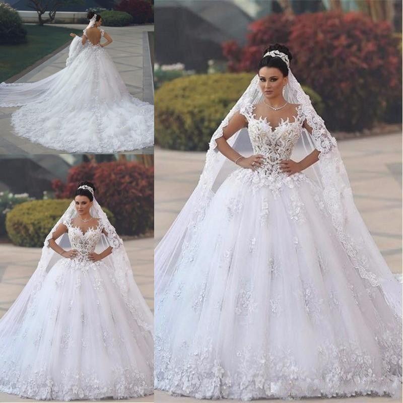 2019 새로운 아랍어 럭셔리 볼 가운 웨딩 드레스 아가의 레이스 AppliquesCap 슬리브 오픈 다시 코트 트레인 푹신한 Tulle 신부 가운