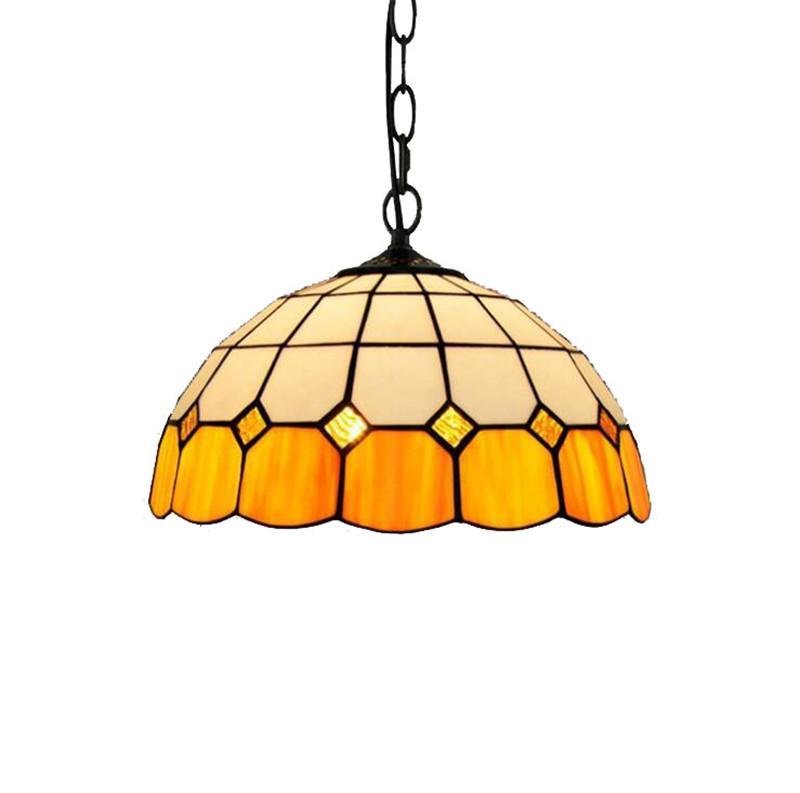 European simple Mediterranean creative glass table lamp Tiffany stained glass retro restaurant bedroom bar orange chandelier TF069