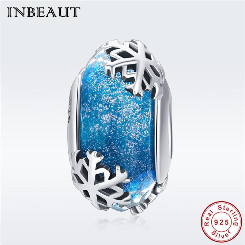 Winter Snow Charm fit Pandora Pulsera Real 925 Sterling Silver Ocean Blue Glass White Snowflake Beads Fabricación de joyas de Navidad