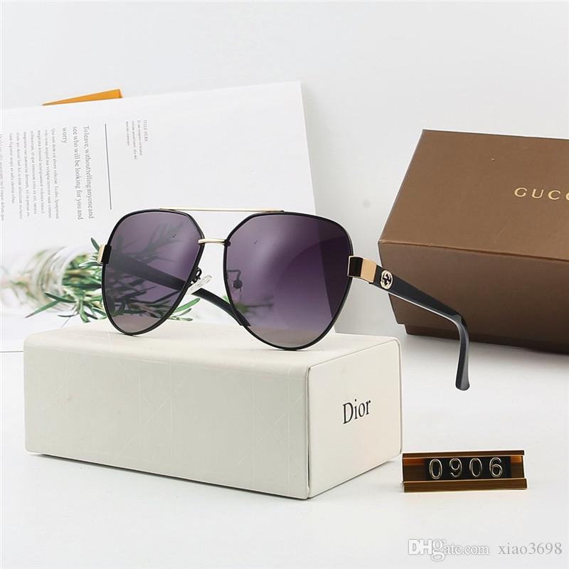 diseñador de la marca de geometría gafas de sol de las mujeres los hombres UV400 lente Gafas de sol para hombre Aleaciones Gafas Gafas de Sol con casos marrones y cuadro