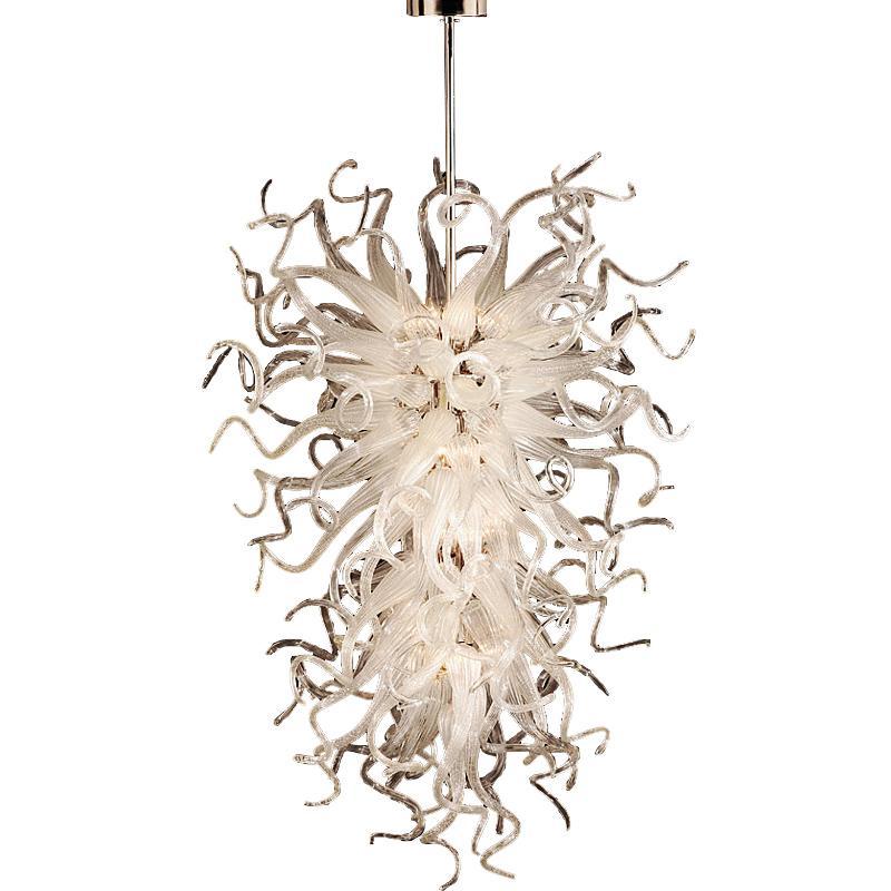 Moderne große weiße Lichter Kronleuchter 52inch Hochzeitsdekor Kunst Glas Kronleuchter LED-Lichtquelle 100% Handgeblasene Anhänger Lampen Beleuchtung