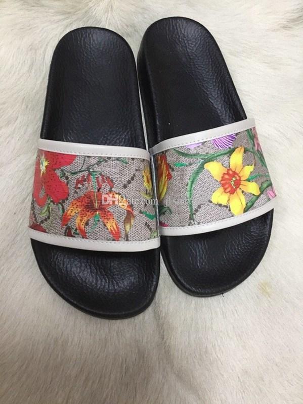 2020 mens womens unisex fashion Flora print flat slippers Blooms Canvas slide sandals size euro 35-45