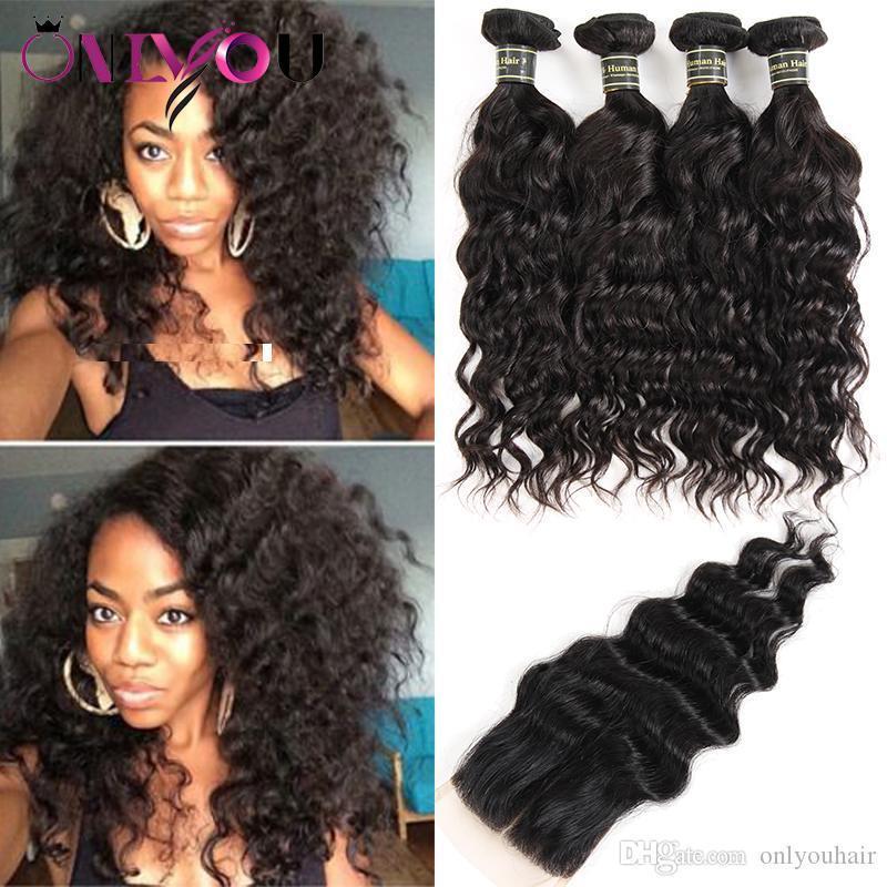 En Dantel Kapatma Ucuz Saç Dokuma İçin Siyah Kadınlar ile Kapatma Doğal Dalga Paketler ile Brezilyalı Virgin Saç Su Dalgası İnsan Saç Paketler