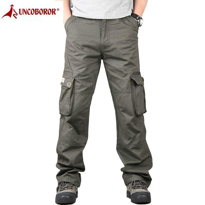 Pants Men Cargo Combat Work Overalls Loose Straight Tactical Trousers Multi-Pocket Baggy Casual Cotton Slacks Pants Men