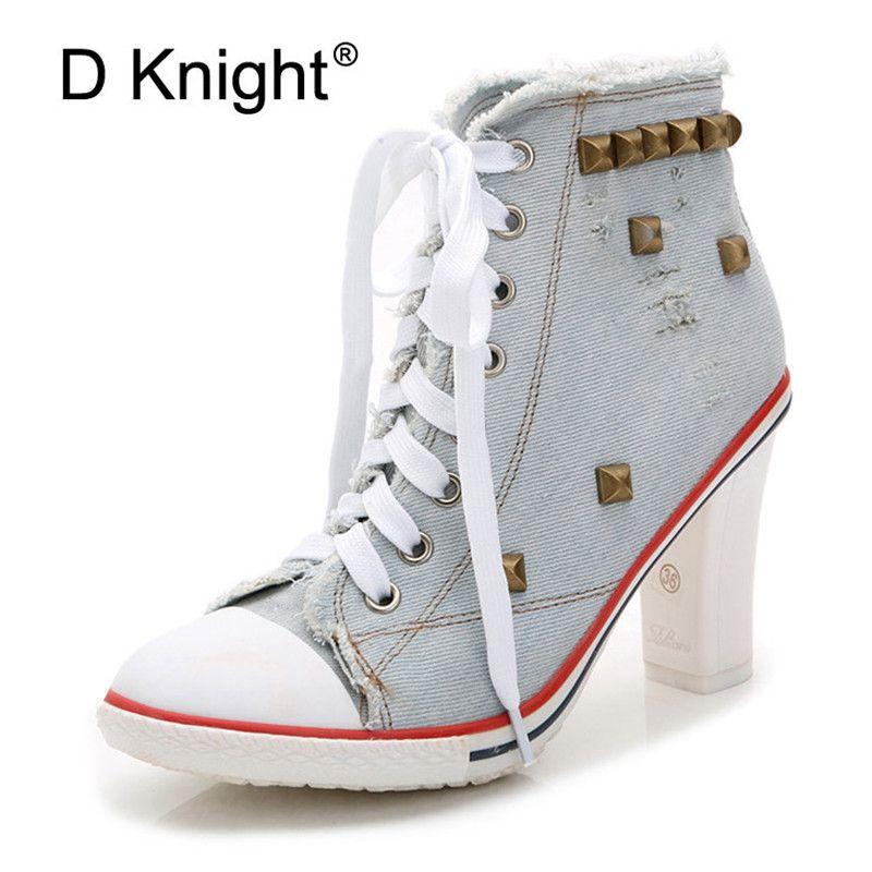 Plus Tamaño de las botas para las mujeres camuflaje ata para arriba Mujer tacones altos de la plataforma de los zapatos del resorte del otoño de la muchacha de la señora tobillo de las mujeres de los botines