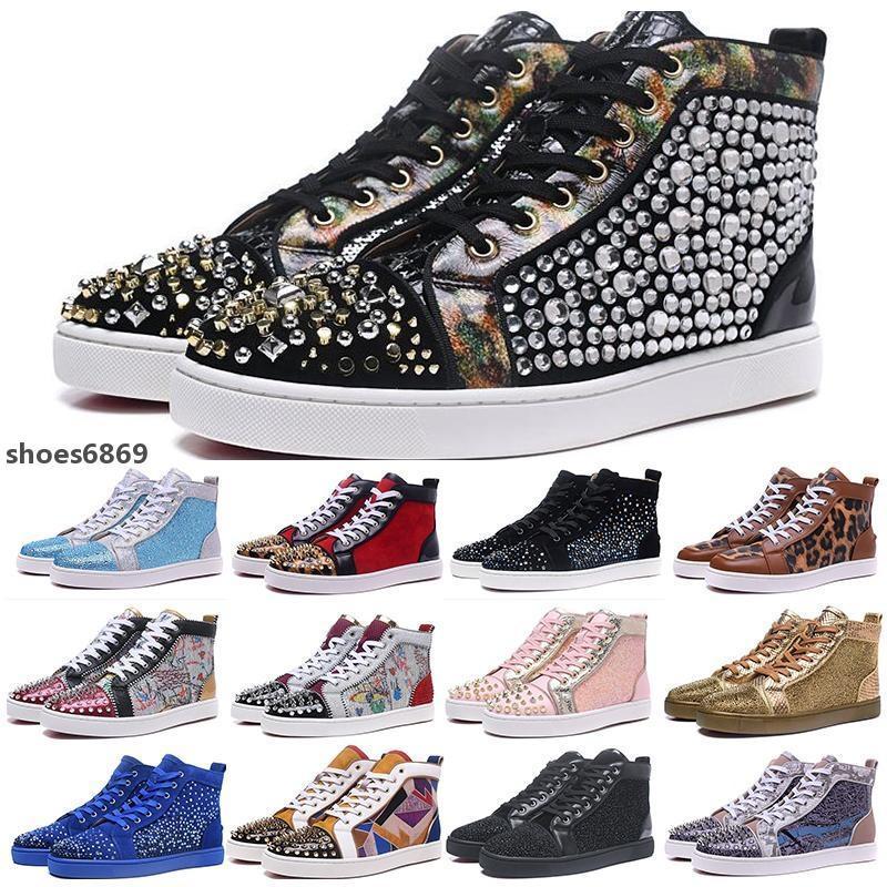 2020 de alta qualidade de lançamento inferior é sapato de luxo Red Sneaker para o casamento Mulheres Partido dos homens couro genuíno calçados casuais de Spike Sneakers