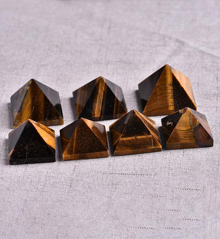 2pcs / set naturel de guérison Tiger Eye Pyramide cristal naturel pierre minérale Cyanite cadeau Accueil Feng Shui Décoration Livraison gratuite