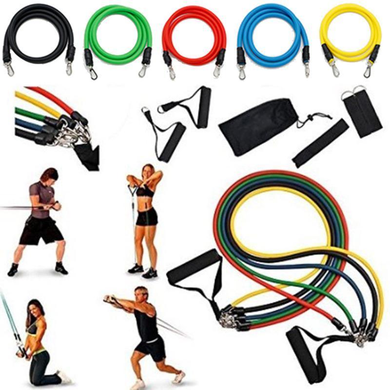 11 faixas da resistência PCS Set Expander Yoga Exercício de borracha aptidão Tubes faixa do estiramento Formação Gyms Home Workout Elastic # 20