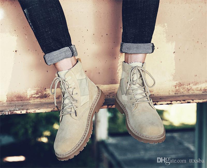 بيع الساخن 2020 موضة البرية عدم الانزلاق أحذية مقاومة للاهتراء الخريف جديد مارتن الأحذية الرجال أعلى ارتفاع عارضة في الهواء الطلق