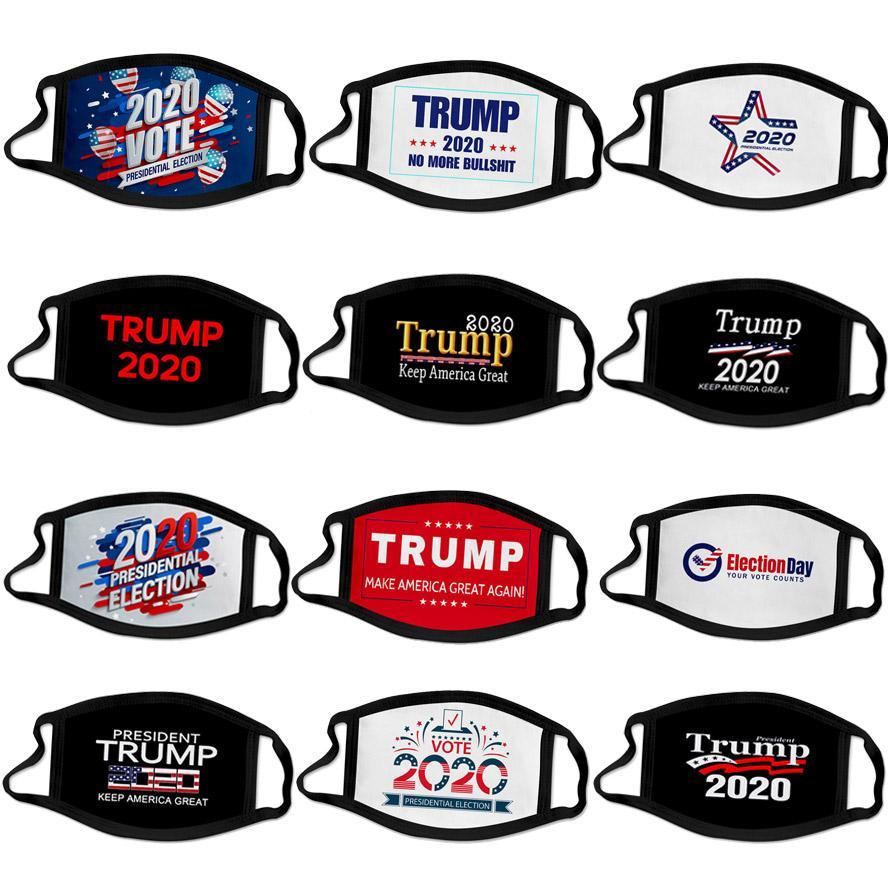 DHL 2020 Trump máscara elección presidencial de cara diseñador de campaña de los hombres reutilizable mascarillas negras Trump imprimir máscara protectora a prueba de polvo boca