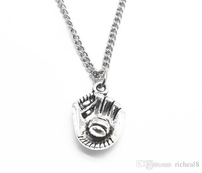 Vintage Silver бейсбол софтбол перчатки Музыкальные Примечание ШВЕЙНАЯ МАШИНА ЛУК ARROW ожерелье Заявление ожерелья женщин ювелирные подарки