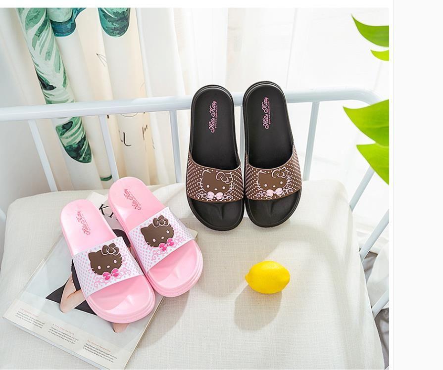 e3fa1f2c8 ... Wholesale hello Kitty slippers ladies summer indoor cute cartoon  bathroom slip-resistant adult leopard print ...