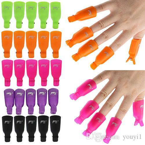 Arte de las uñas de plástico empapa del clip del casquillo herramienta Wrap removedor polaco ULTRAVIOLETA del gel del arte del clavo para los dedos 10Ppcs / set 11 colores