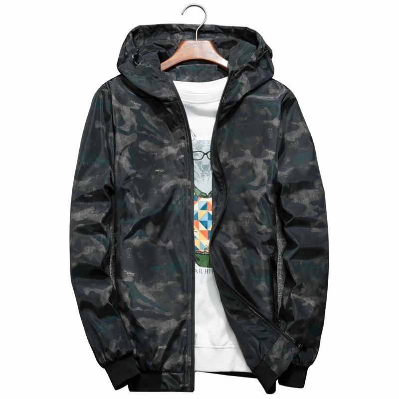 Desgaste de los hombres de las chaquetas de camuflaje Incluso Sombrero Tiempo libre chaqueta marea hombres de la ropa del otoño de los hombres con capucha cazadora Hombre Outwear