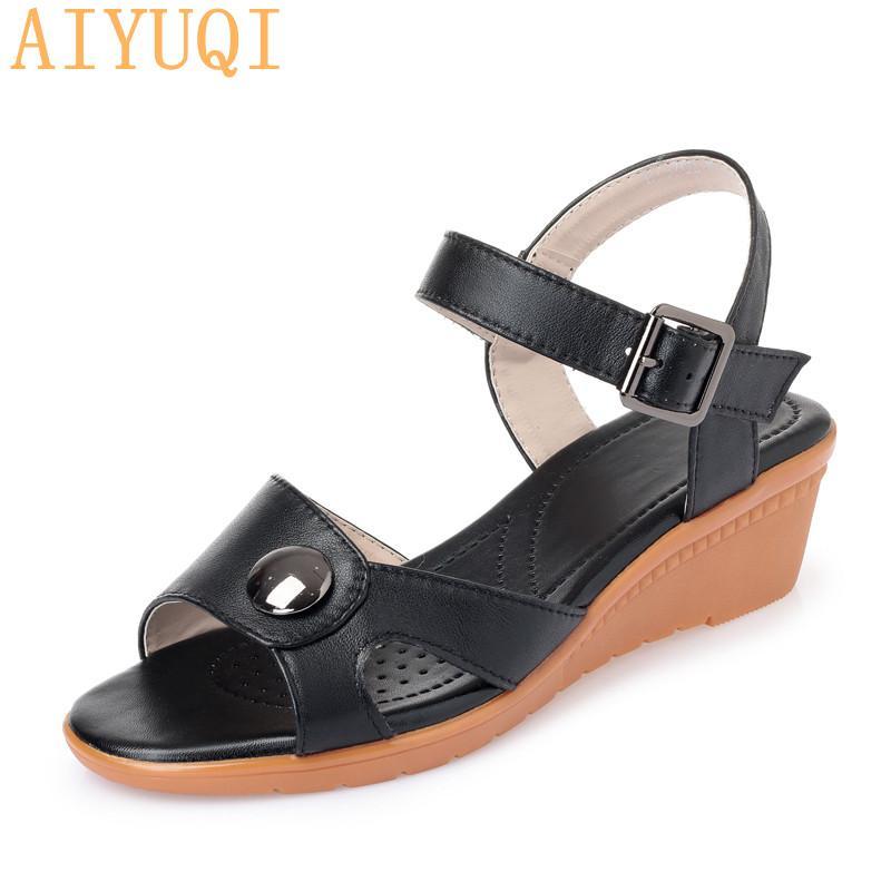 Sandali di AIYUQI donne 2020 estate nuovo cuoio genuino femminile romana sandali con zeppa Lady Plus Size 41 42 43 Scarpe Donna