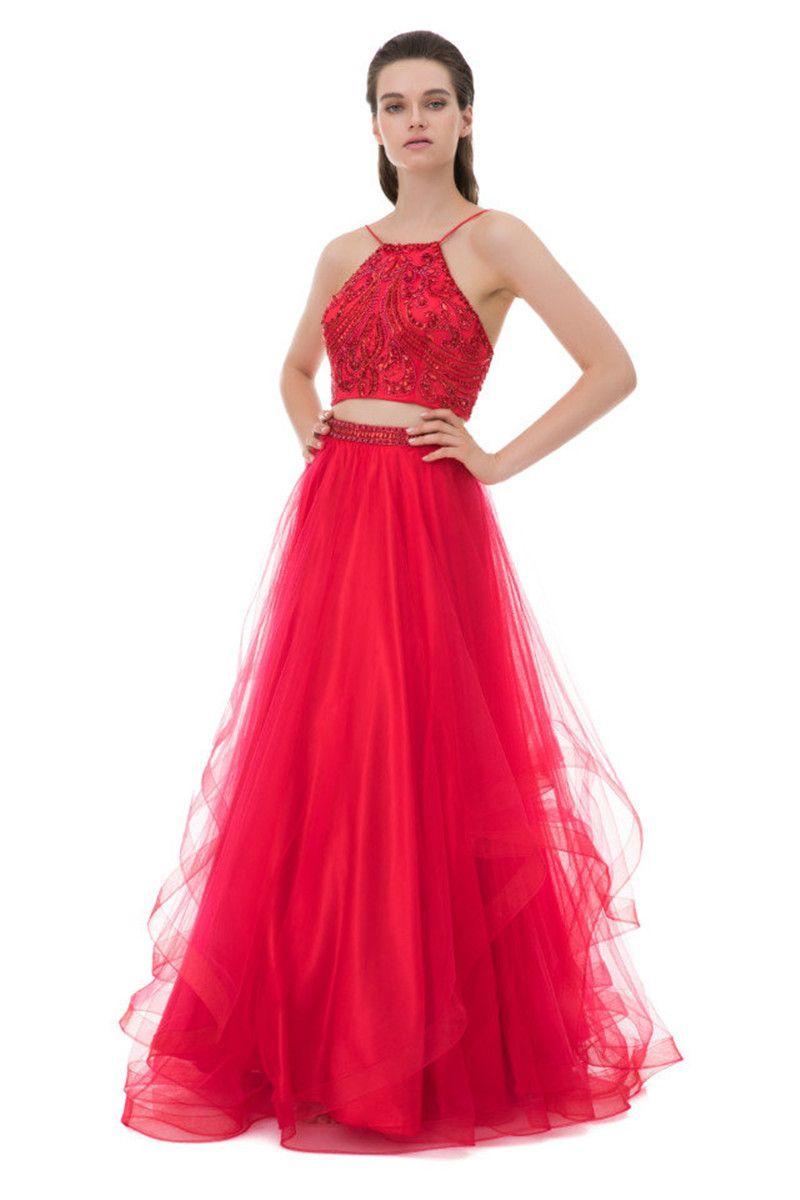 섹시한 빨간 두 조각 댄스 파티 드레스 홀터넥 민속 라인 Appliques 레이스 크리스털 페어 티 주니어 저녁 파티 드레스 vestidos de baile